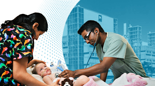 A doctor working on a patient in the Pediatric Intensive Care Unit