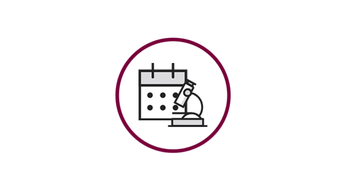 A microscope icon in front of a calendar icon
