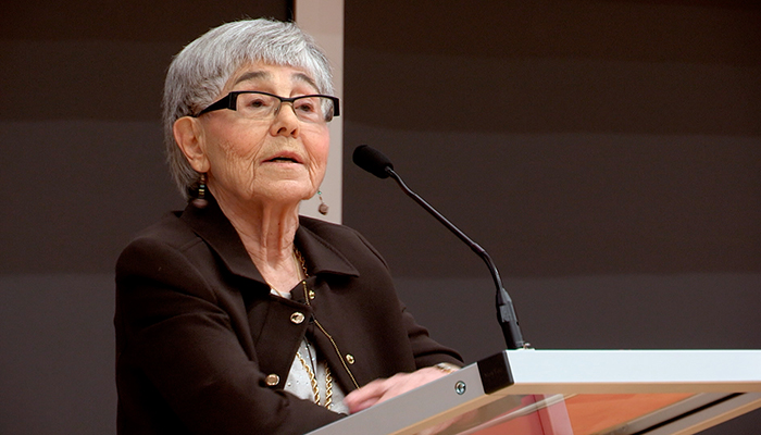 May Cohen speaks at McMaster University in April 2017.