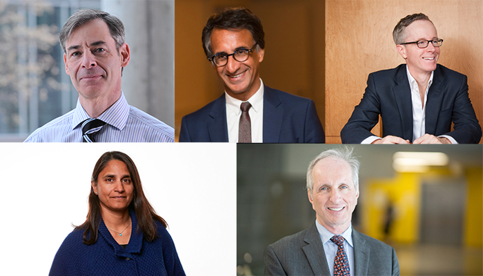 Mark Loeb (top left), Parminder Raina (top centre), John Lavis (top right), Sonia Anand (bottom left) and Hertzel Gerstein (bottom right) elected fellows of the Canadian Academy of Health Sciences.