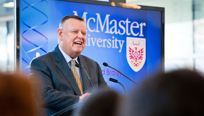 David Braley speaks at the 2012 announcement of the Boris Family gift to the Faculty of Health Sciences at McMaster University.