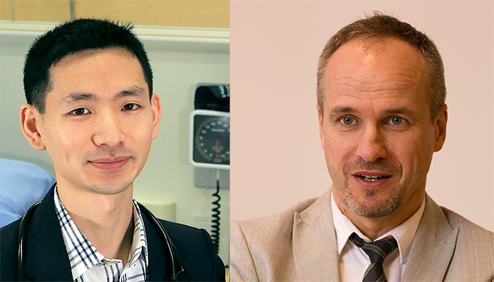 Clinician scientist Derek Chu, left, and professor Holger Schünemann.