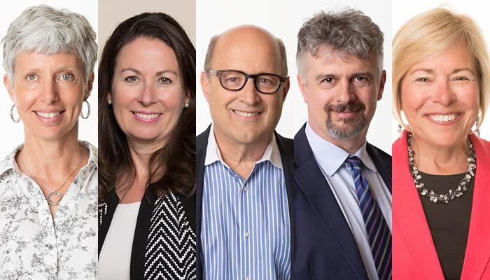 The five new McMaster CAHS fellows are Lori Burrows, Maureen Dobbins, Mitchell Levine, Alfonso Iorio and Maureen Markle-Reid.