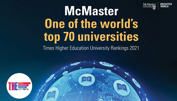 McMaster ranked among the top 70 universities worldwide