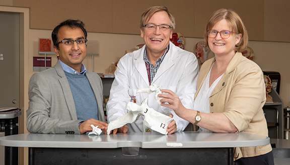 Harsha Shanthanna, Bruce Wainman and Anita Gross in McMaster University's anatomy lab. Photo by Georgia Kirkos