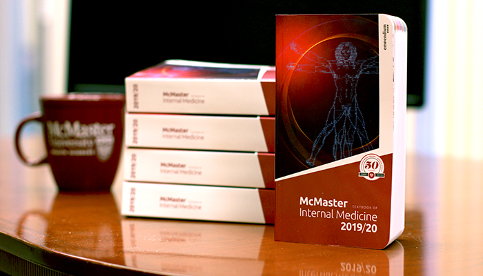The first edition of the McMaster Textbook of Internal Medicine is available on bookshelves and online from the McMaster Campus Store. Photo by Cameron Taylor/McMaster University