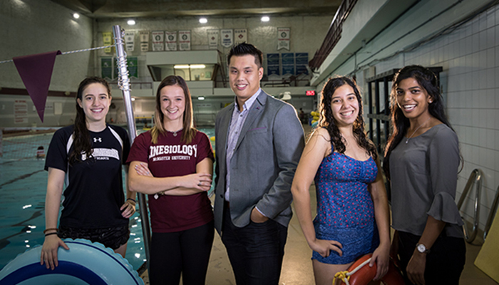 Natalie Paolucci, Cierra Healey, Matthew Kwan, Selvia Margharious and Ryanne Perinpanayaagm are leading the PLUS Study at McMaster University. PHOTO BY JD HOWELL