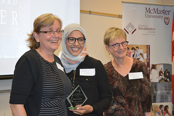 Lori Letts, assistant dean of occupational therapy, left, recipient Sukaina Dada, centre, and Patty Solomon, associate dean and director of rehabilitation science.