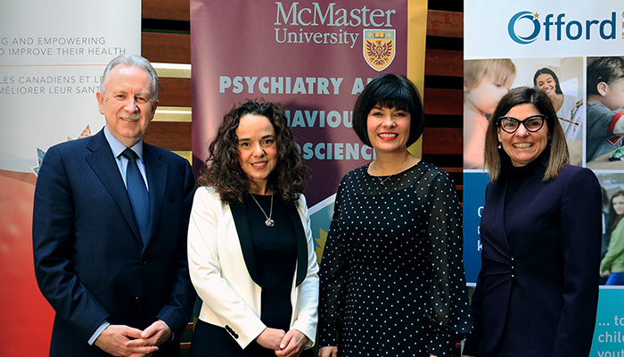 Paul O'Byrne, Andrew Gonzalez, Ginette Petitpas Taylor and Filmomena Tassi at today's announcement at McMaster University.