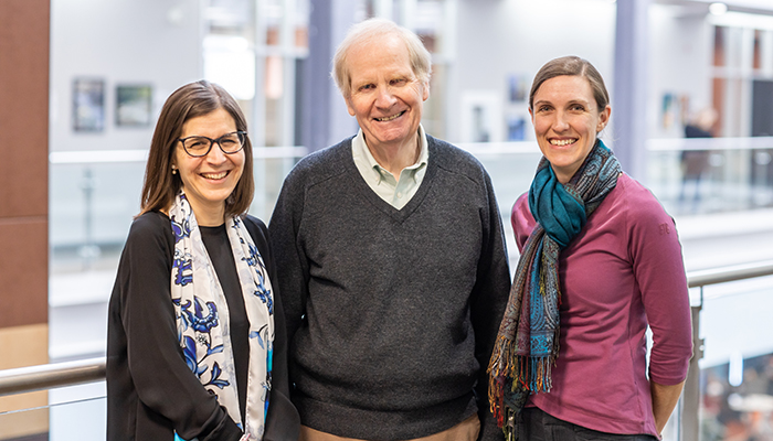 Kathy Georgiades and Michael Boyle, co-principal investigators of the study with research coordinator Laura Duncan