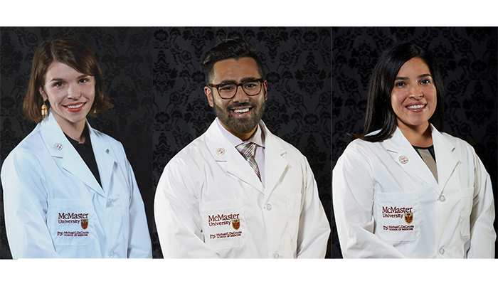 McMaster MD students, left to right, Alice Cavanagh, Satyam Choudhuri and Elisa Levi.
