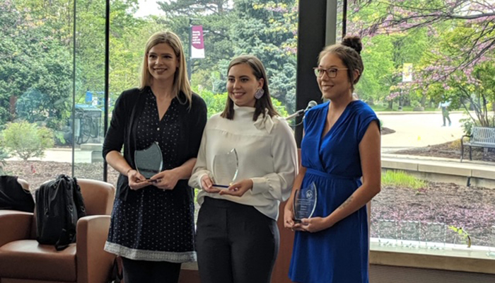 From left: Jillian Roberge, Danielle Bourque, and Brittany Lickers with award at the 2019 Faculty of Health Sciences Research Plenary Awards
