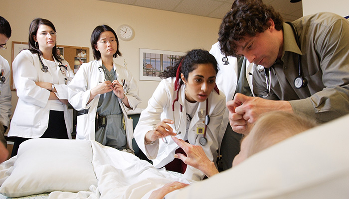 McMaster University undergraduate medical students on clinical rounds at Hamilton General Hospital in 2004.