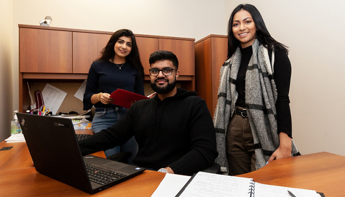 Hafsa Memon, Nauman Chaudhry and Munam Majeed are the Finance 2 Go team, providing service to departments in the Faculty of Health Sciences.