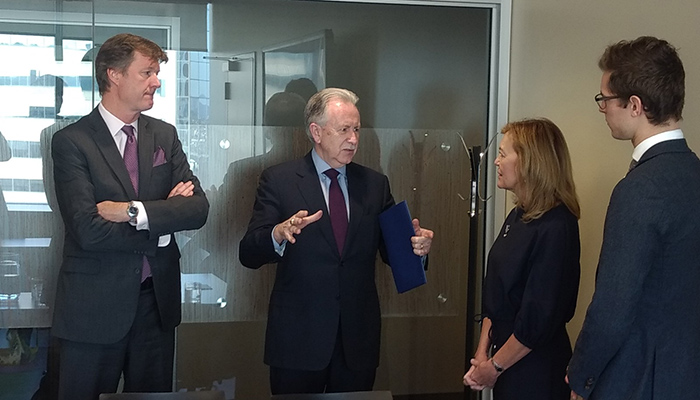 David Price and Paul O'Byrne from the Faculty of Heath Sciences; Christine Elliott, deputy premier and minister of health and Sam Oosterhoff, MPP, Niagara West discussing Hamilton Health