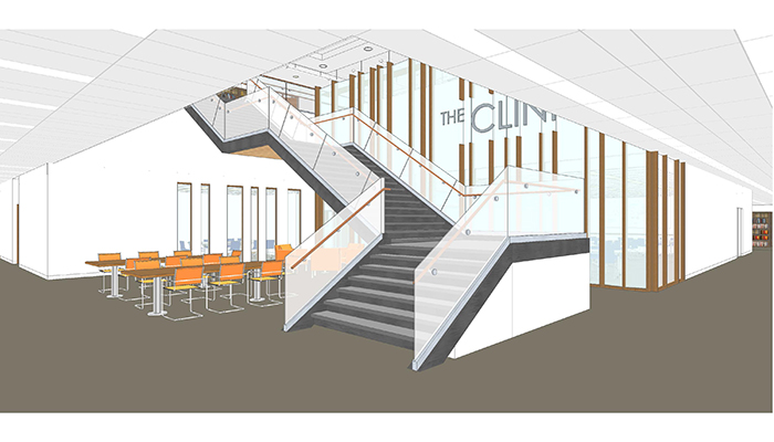 An artist's rendering of 'The Clinic' coming soon to the first floor of the Health Sciences Library.