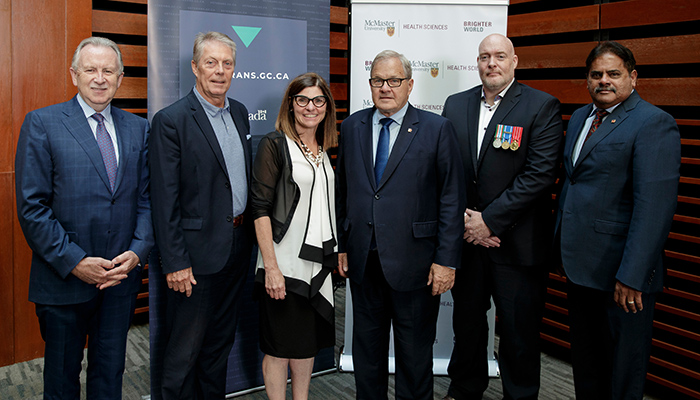 Attending today's announcement were, left to right: Paul O'Byrne, Fred Eisenberger, Filomena Tassi, Lawrence MacAulay, John Brown and Ramesh Zachiarias.