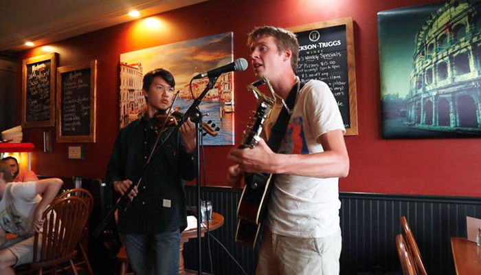 Medical students Jun Park and Matt McArthur during their Song of Ontario scholarship-funded tour.