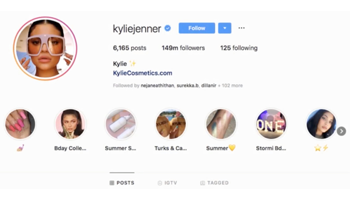 Kylie Jenner's Twitter page