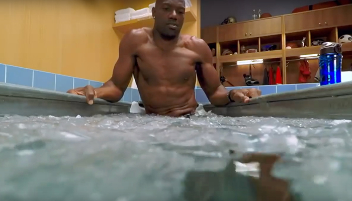 Man taking ice bath