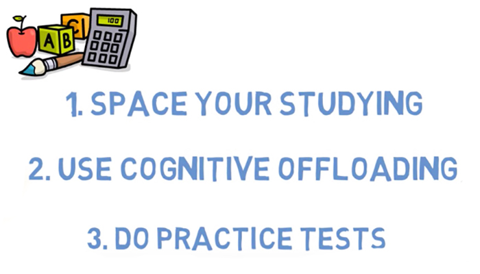 Study strategies: Space your studying, cognitive offloading and practice tests