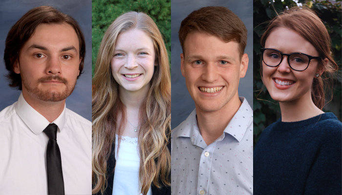 Medical students Wryan Helmeczi, Christina Weber, Elliot Grady and Emma Hudson are scholarship recipients.
