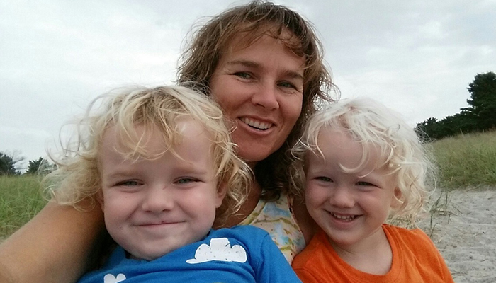 Cindy Graham with her twin boys