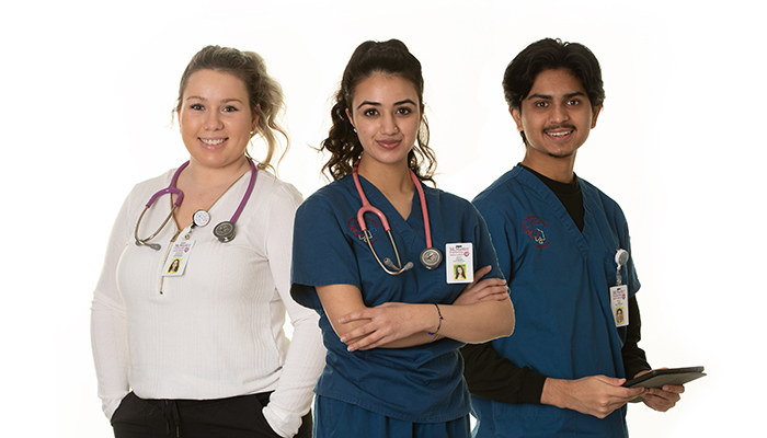 Nursing students (L to R) Anthonela Pavlakovic, Saher Shergill and Dhruv Patel.