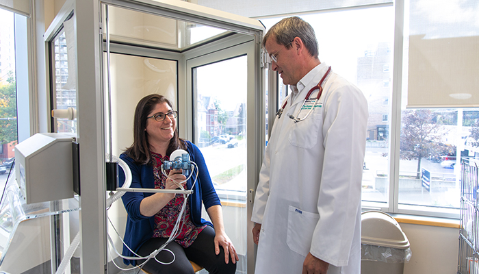 Patient Melissa Sulpher and Martin Kolb, respirologist, at the Firestone Institute for Respiratory Health.